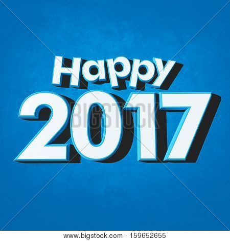 3D rendering of blue rimmed white 3D letters on a blue background with the message Happy New Year 2017