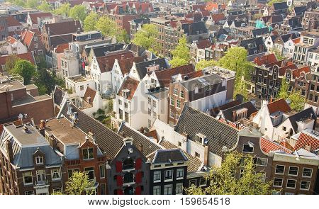 Bird view of central Amsterdam the Netherlands