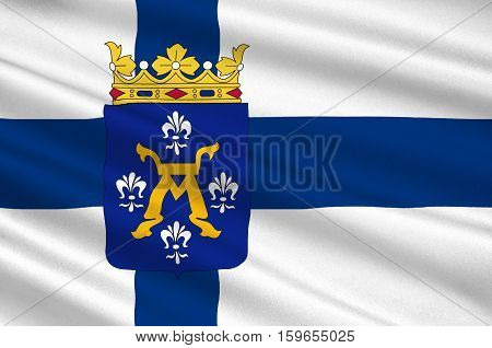 Flag of Turku is a city on the southwesin Western Finland Province of Finland. 3d illustration