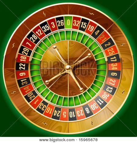 Vector illustration of detailed casino roulette wheel