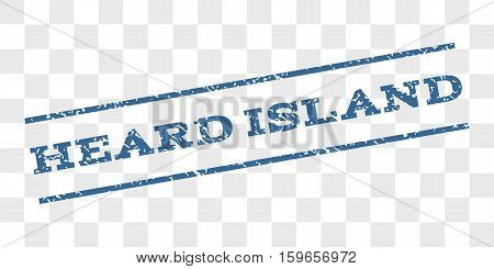Heard Island watermark stamp. Text caption between parallel lines with grunge design style. Rubber seal stamp with dust texture. Vector cobalt blue color ink imprint on a chess transparent background.