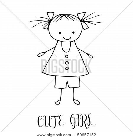 Cute Little Girl. Hand Drawing In Funny Kids Style. Design Element For Decoration Souvenirs, Cards,