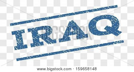Iraq watermark stamp. Text tag between parallel lines with grunge design style. Rubber seal stamp with unclean texture. Vector cobalt blue color ink imprint on a chess transparent background.