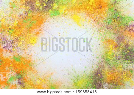 Holi colors template background. Celebrate festival Holi. Indian Holi festival of colours.