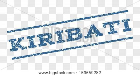 Kiribati watermark stamp. Text caption between parallel lines with grunge design style. Rubber seal stamp with dust texture. Vector cobalt blue color ink imprint on a chess transparent background.