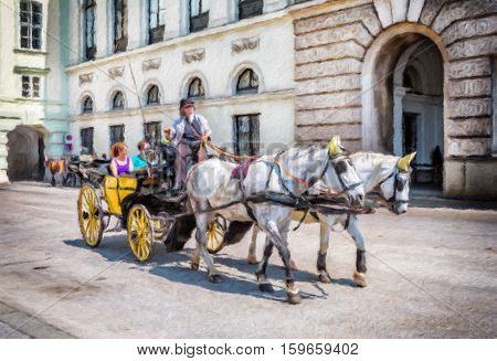 People have a ride in the fiaker and pass the Hofburg in Vienna. The fiaker first was build in the 18 century in the street Rue de Saint Fiacre. Oil painting effect.