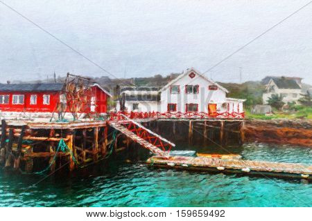 Traditional pier for fishing boats in Northern Norway. Oil painting effect.