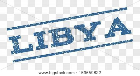 Libya watermark stamp. Text caption between parallel lines with grunge design style. Rubber seal stamp with unclean texture. Vector cobalt blue color ink imprint on a chess transparent background.