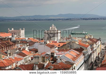 Bird view of central Lisbon with its red roofs