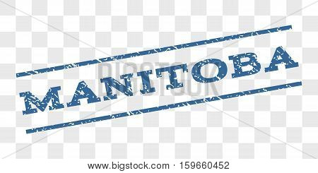Manitoba watermark stamp. Text tag between parallel lines with grunge design style. Rubber seal stamp with dirty texture. Vector cobalt blue color ink imprint on a chess transparent background.