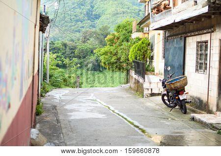 La Palma El Salvador - May 16 2015: Street view in a small rural town of La Palma in El Salvador, Central America