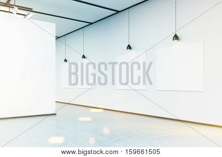 Corner Of Art Gallery With Large White Wall And Pictures, Toned