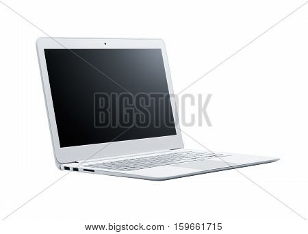 Laptop with blank screen isolated on white background - Clipping path included