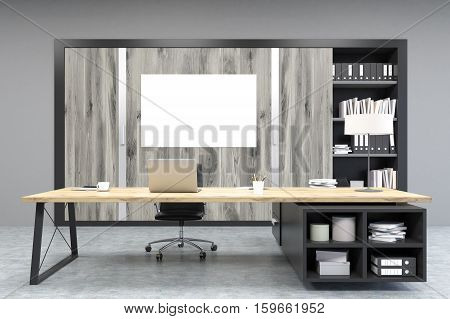 Front View Of A Ceo Office With Poster, Wooden Doors And A Bookcase
