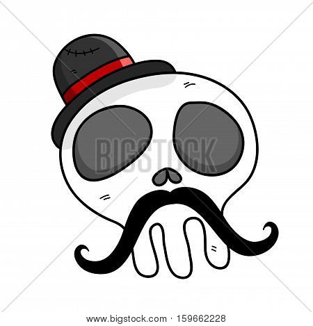 Hipster Skull Mustache. A hand drawn vector cartoon illustration of a skull wearing top hat and a mustache.