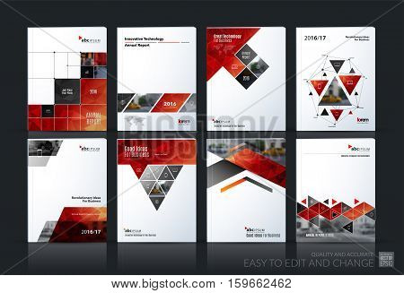 Business vector set. Brochure template layout, cover design annual report, magazine, flyer in A4 with red geometric shapes, squares, triangles, arrows for IT, business, building. Abstract