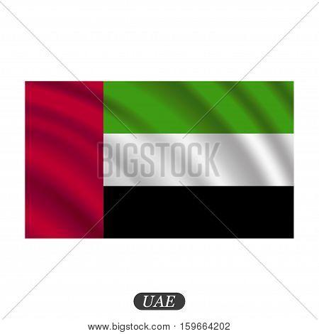 Waving UAE flag on a white background. Vector illustration