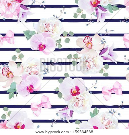 Navy blue striped seamless vector print in purple pink and white tones with bows. Peony violet campanula orchid bell flower eucalyptus. Simple backdrop with satin pink bows and blue berries.