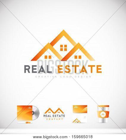 Real estate house orange vector logo icon sign design template corporate identity