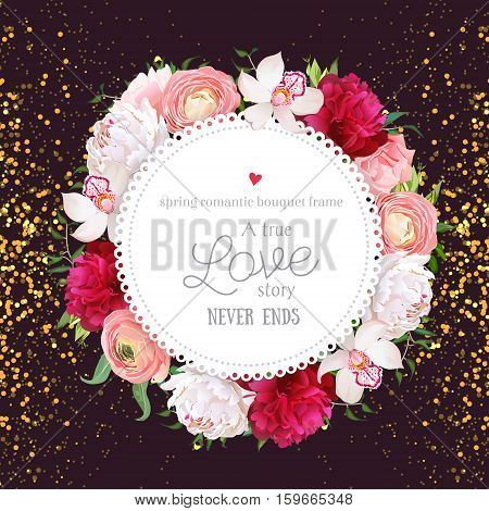 Floral vector design round card with golden glitter dark background. White and burgundy red peony pink roses ranunculus flowers orchid. All elements are isolated and editable