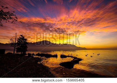 French alps from Montreux with sunset and lake