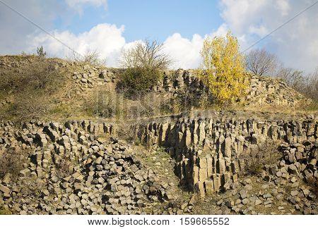 Beautiful geologic basalt rock formation in a mine