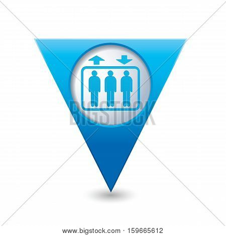 Blue triangular map pointer with elevator icon. Vector illustration