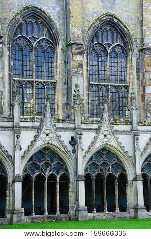 Windows in Cloisters Canterbury Cathedral Kent england