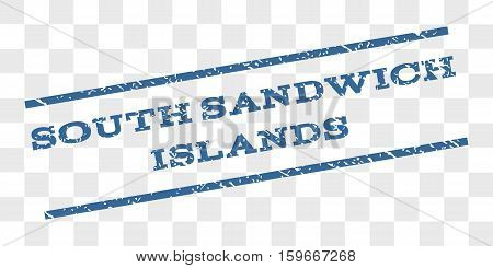 South Sandwich Islands watermark stamp. Text caption between parallel lines with grunge design style. Rubber seal stamp with dust texture.