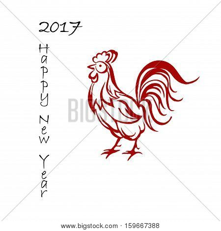 Background for 2017 Chinese new year. The year of rooster. Vector illustration. 2017 new year of rooster. Black lettering 2017 new year and decorated with red rooster. Red fire rooster as symbol of new year 2017 in Chinese calendar