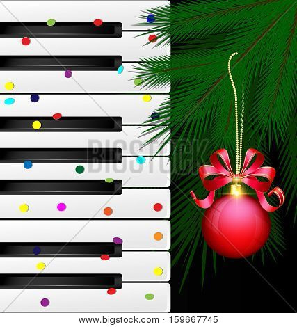 dark background abstract large music keys confetti and the green branch of the big tree with the red decorative ball