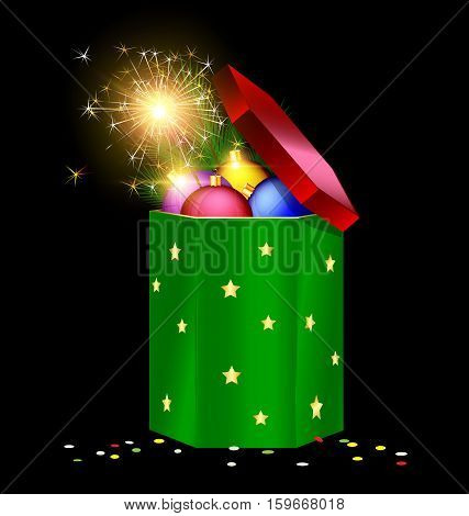 black background the large red green gift box with decorative colored balls branch of tree and festive fire
