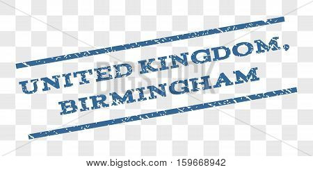 United Kingdom, Birmingham watermark stamp. Text tag between parallel lines with grunge design style. Rubber seal stamp with scratched texture.