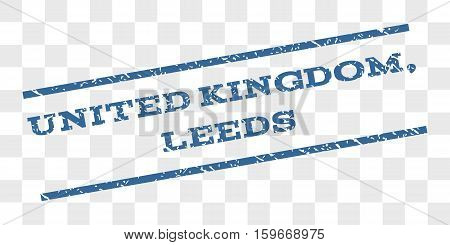 United Kingdom, Leeds watermark stamp. Text caption between parallel lines with grunge design style. Rubber seal stamp with unclean texture.