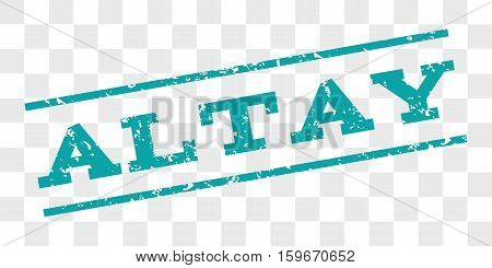 Altay watermark stamp. Text tag between parallel lines with grunge design style. Rubber seal stamp with dust texture. Vector cyan color ink imprint on a chess transparent background.