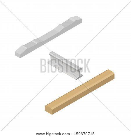 Set railroad design elements isolated on white background. Flat 3D isometric style vector illustration.
