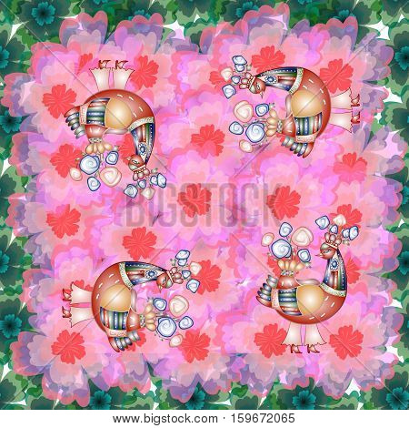 Beautiful bandana print with four fairy birds on background with pink and green flowers. Silk neck scarf or kerchief square pattern design style for print.