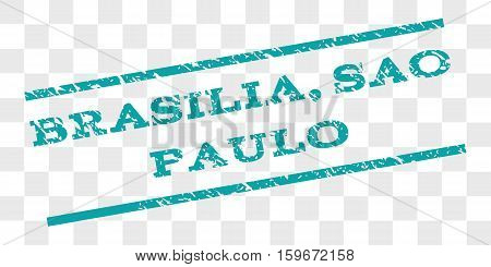 Brasilia, Sao Paulo watermark stamp. Text caption between parallel lines with grunge design style. Rubber seal stamp with unclean texture.