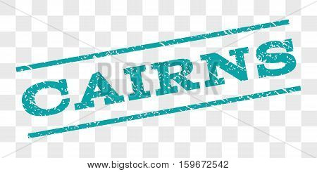 Cairns watermark stamp. Text caption between parallel lines with grunge design style. Rubber seal stamp with scratched texture. Vector cyan color ink imprint on a chess transparent background.