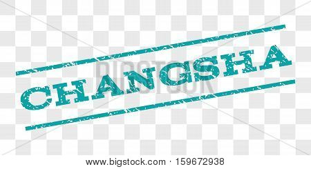 Changsha watermark stamp. Text caption between parallel lines with grunge design style. Rubber seal stamp with unclean texture. Vector cyan color ink imprint on a chess transparent background.