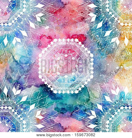 Indian pattern on a watercolor multicolored rainbow background. Ethnic native pattern perfect for fashion design