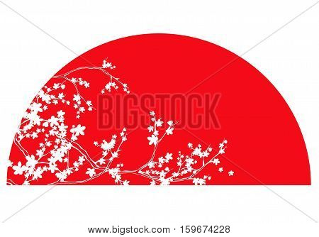traditional japanese red sun and white sakura branches vector design