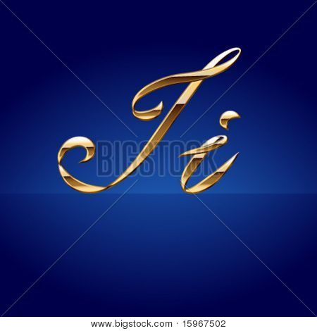Old styled decorative characters of pure gold. Character i