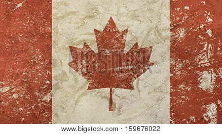 Old Grunge Vintage Faded Flag Of Canada