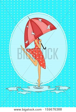Seasonal rainy card. Girl with umbrella in the rain jumps in puddles. Vector illustration.