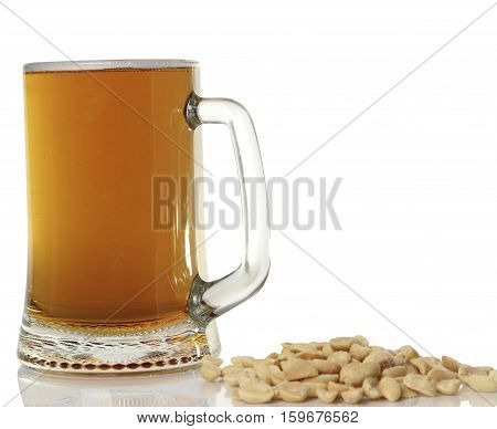 large mug of light beer. tasty beverage in a pint of beer on a white background.