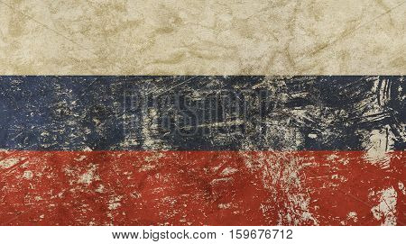Old Grunge Vintage Faded Russian Federation Flag