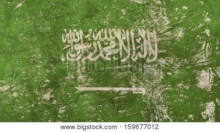 Old grunge vintage dirty faded shabby distressed Kingdom of Saudi Arabia KSA green flag background