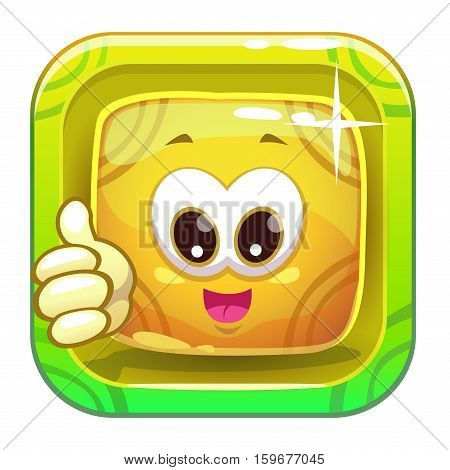 App icon with funny cute yellow slimy square character. Vector game asset.