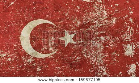 Old Grunge Vintage Faded Republic Of Turkey Flag